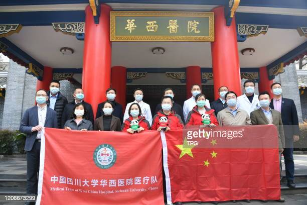 The Chinese experts will fly to Italy to help fighting against novel coronavirus pneumonia on 11th March, 2020 in Chengdu,Sichuan,China.