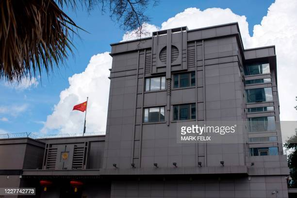 The Chinese flag flies outside of the Chinese consulate in Houston after the US State Department ordered China to close the consulate in Houston,...