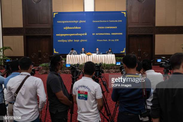 The Chinese international observer representative China's Minister of Foreign Affairs Li Zhigong speaks to the press in Ballroom 2 at Sofitel...