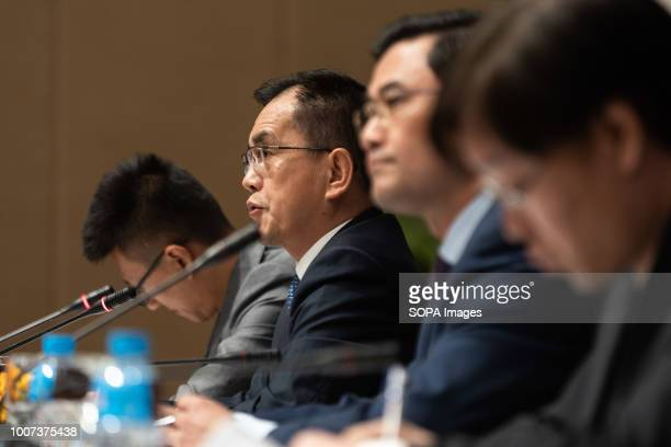 The Chinese international observer representative China's Minister of Foreign Affairs Li Zhigong speaks to the press in Ballroom 2 at Sofitel a...