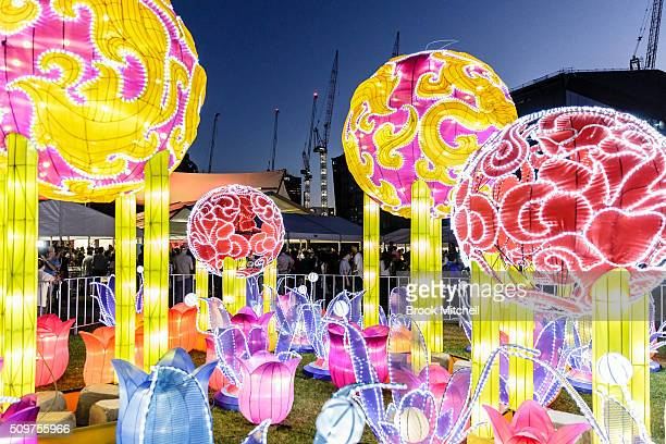 The Chinese New Year Lantern Festival at Tumbalong Park on February 12 2016 in Sydney Australia The lighting of lanterns is a centuries old tradition...
