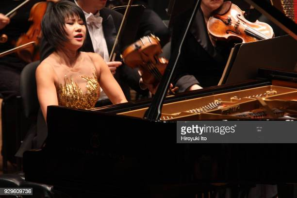 The Chinese pianist Yuja Wang performing Brahms's Piano Concerto No 1 with the New York Philharmonic led by Jaap van Zweden at David Geffen Hall on...
