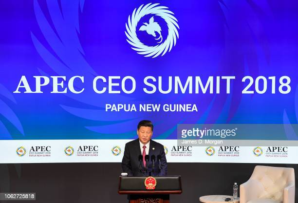 The Chinese President of the People's Republic of China Xi Jinping speaking at the APEC CEO Summit on board PO Cruises' Pacific Explorer cruise ship...