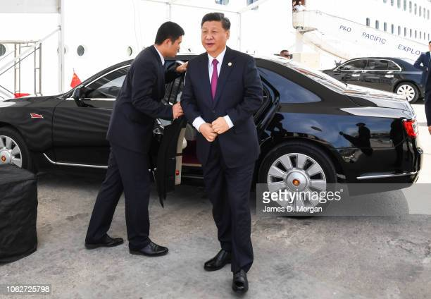 The Chinese President of the People's Republic of China Xi Jinping arrives by car to board PO Cruises' Pacific Explorer cruise ship on November 17...