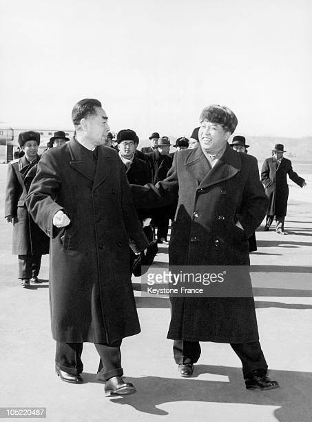 The Chinese Prime Minister Zhou En Lai Greeted By Kim Il Sung The Prime Minister Of The Democratic People'S Republic Of North Korea At The Airport Of...
