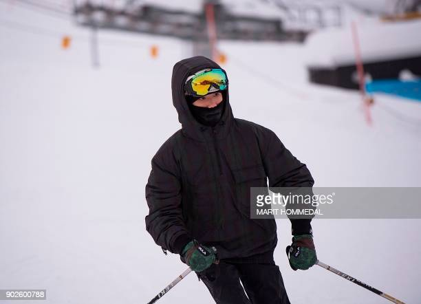 The Chinese singersongwriter and member of the boy band TFBoys Roy Wang also known as Wang Yuan skies at Myrkdalen ski center in Voss Norway on...
