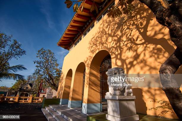 the chinese stone lions in front of the traditional ancient chinese temple - old manila stock pictures, royalty-free photos & images