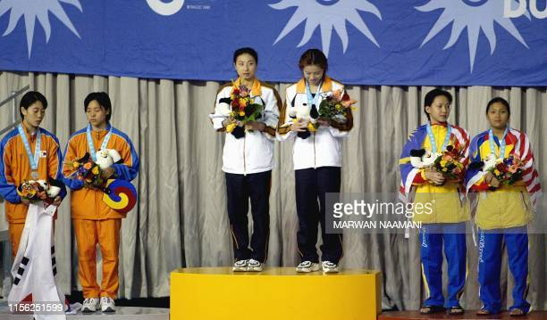 The Chinese team of Wu Minxia and Guo Jingjing pose on the podium after receiving their gold medal for winning the women's three meters sychronized...