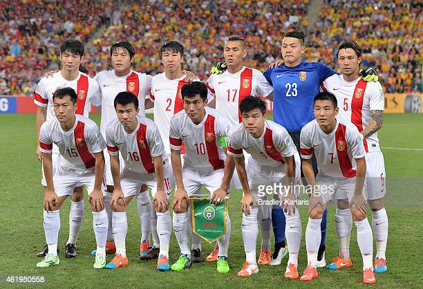 The Chinese team pose for a team photo before the 2015 Asian Cup match between China PR and the Australian Socceroos at Suncorp Stadium on January 22...