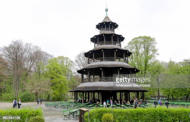 The Chinese Tower or The Chinesischer Turm on April 16 2017 in Munich Germany The Chinesischer Turm is a 25 metre high wooden structure first...