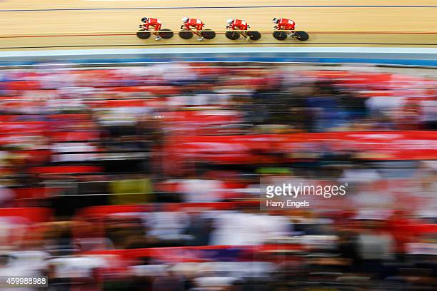 The Chinese Women's Pursuit Team in action during the Team Pursuit Qualifying Session on day one of the UCI Track Cycling World Cup at the Lee Valley...
