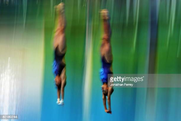 The Chinese women's synchronized diving team practice at the National Aquatics Center ahead of the Beijing 2008 Olympic Games on August 5 2008 in...