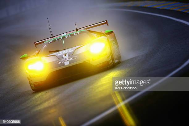 The Chip Ganassi Ford GT of Billy Johnson Stefan Mucke and Olivier Pla drives during qualifying for the Le Mans 24 Hour race at the Circuit de la...