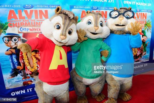 The Chipmunks Alvin Simon and Theodore attend Twentieth Century Fox Home Entertainment's Alvin and the Chipmunks Chipwrecked Bluray and DVD release...