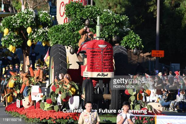 The Chipotle Mexican Grill float Cultivating the Future of Farming participates in the 131st Rose Parade in Pasadena California January 1 2020 The...