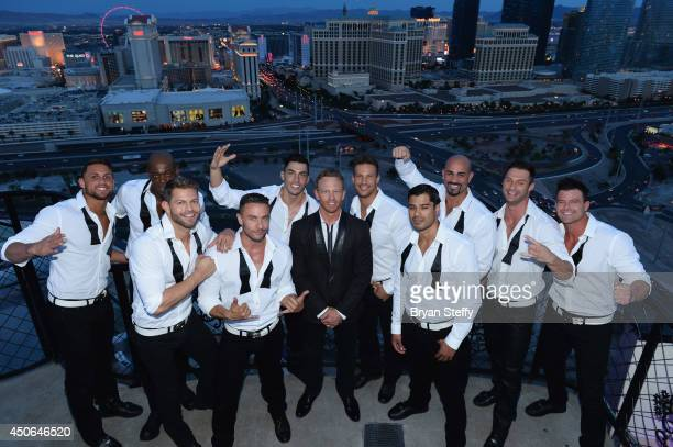 The Chippendales dancers and actor Ian Ziering appear during a reception in celebration of Ziering's return as Chippendales celebrity guest host at...