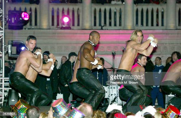 The Chippendales perform during the New Year's Eve concert entitled America's Party on December 31 2003 at the Venetian ResortHotelCasino in Las...