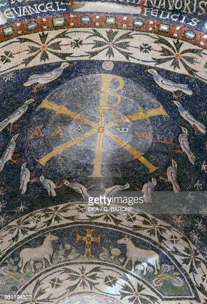 The ChiRho symbol mosaic from the vault of a niche baptistery of Albenga Liguria Italy 6th century