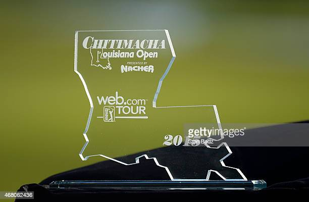 The Chitimacha Louisiana Open award is seen on the 18th hole during the final round of the Webcom Tour Chitimacha Louisiana Open presented by NACHER...