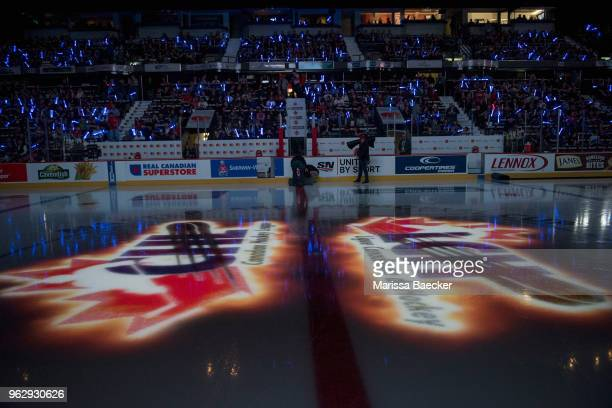 The CHL logo is reflected on the ice at the start of game one between the Regina Pats and the Hamilton Bulldogs at Brandt Centre - Evraz Place on May...