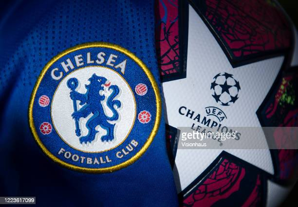 The Chlesea club crest on the first team home shirt displayed with a UEFA Champions League match ball on May 5 2020 in Manchester England