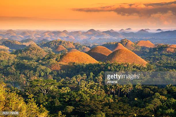 The Chocolate Hills in the morning