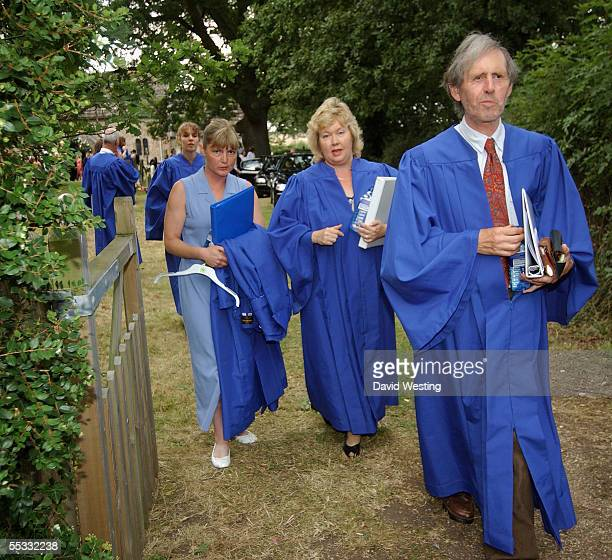 The Choir arrives for the wedding of model Jodie Kidd and internet tychoon Aidan Butler at St Peter's Church on September 10 2005 in Twineham West...