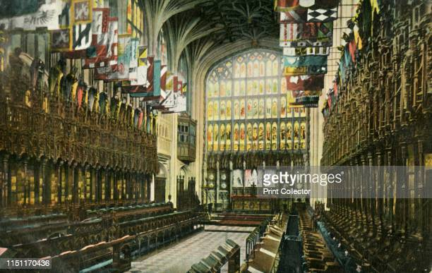 The Choir in St George's Chapel, Windsor Castle, 1904. Interior view looking east in St George's Chapel, built in high-medieval Gothic style in the...