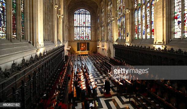 The Choir of King's College Cambridge conduct a rehearsal of their Christmas Eve service of 'A Festival of Nine Lessons and Carols' in King's College...