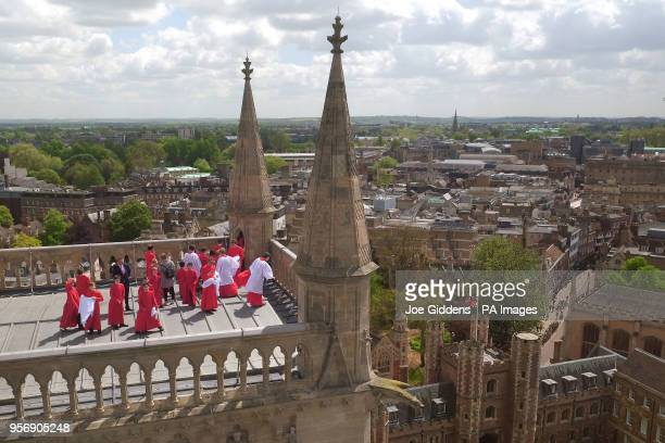The Choir of St John's College Cambridge perform the Ascension Day carol from the top of the Chapel Tower at St John's College a custom dating back...