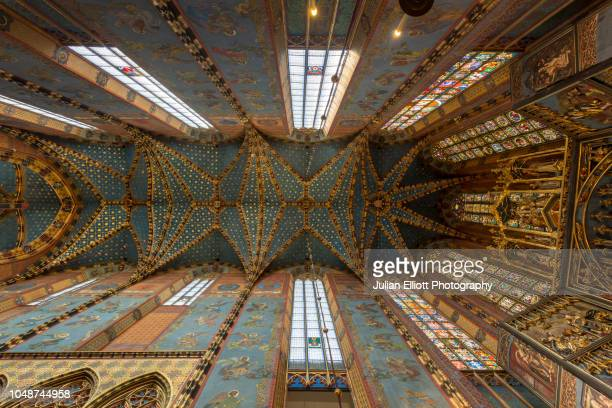 the choir of st mary's basilica in krakow, poland. - krakow stock pictures, royalty-free photos & images