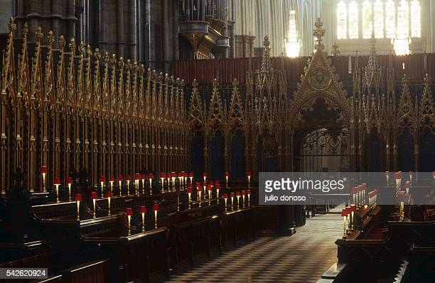 The choir of Westminter Abbey. The stalls, created by Edward Blore, were added in 1848. They have been attributed to the clery of the Abbey, to lay...