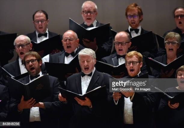 The Choir on stage performs with the Royal Liverpool Philharmonic Orchestra during Classic FM's 25th Birthday concert at the Liverpool Philharmonic...