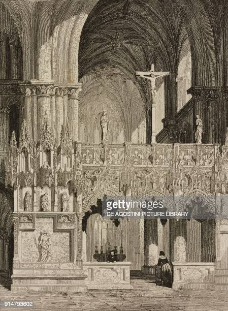 The choir with rood screen and Gothic jube Madeleine Church Troyes France engraving by Lemaitre from France troiseme partie L'Univers pittoresque...