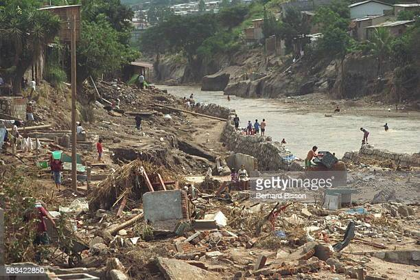 The Choluteca swelled from all the rain and its banks caved in in several places