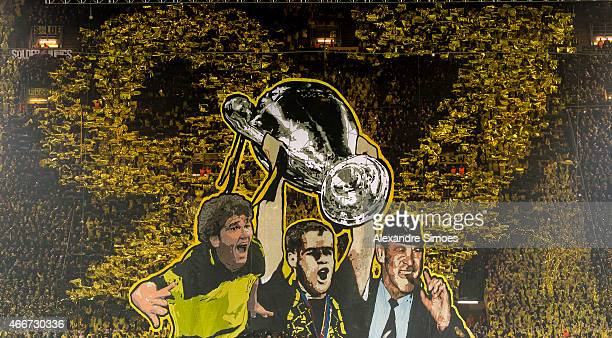 The choreography of Borussia Dortmund's fans prior to the UEFA Champions League round of 16 second leg match between Borussia Dortmund and Juventus...
