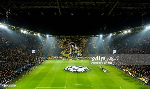 The choreography of Borussia Dortmund's fans prior to the UEFA Champions League round of 16 match between Borussia Dortmund and Juventus Turin at...