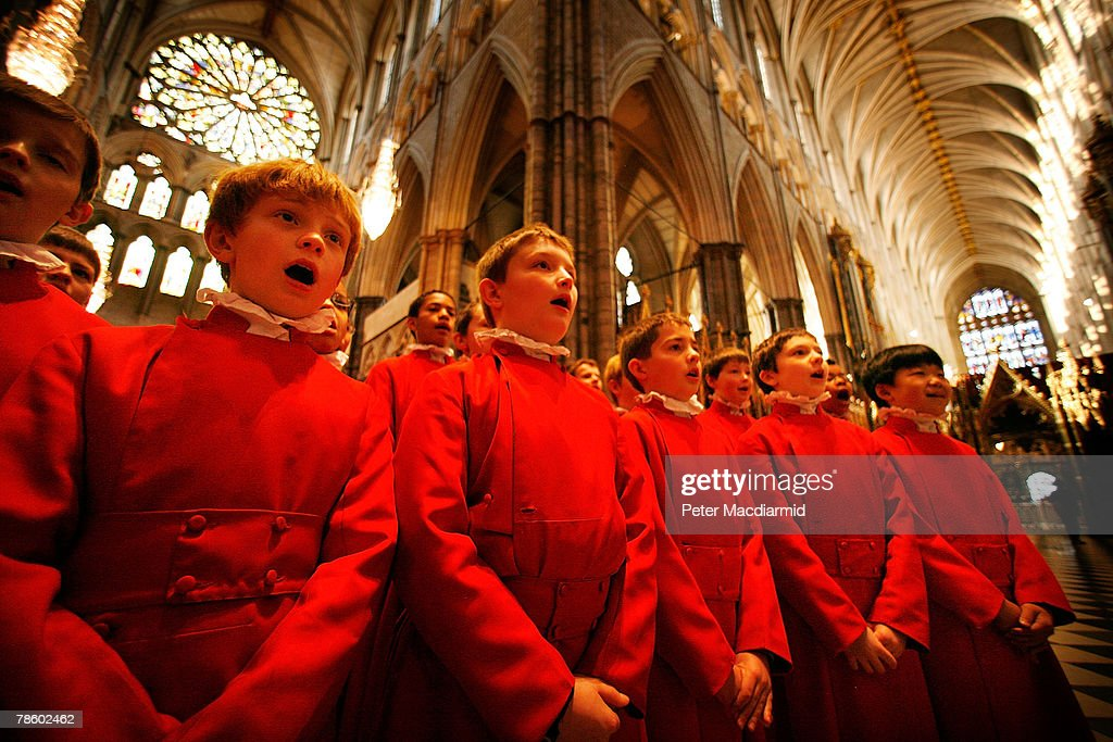 Choristers From Westminster Abbey Prepare For Christmas : News Photo