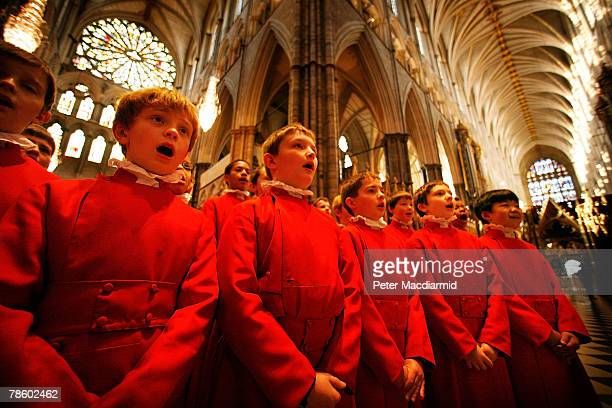 The Choristers of Westminster Abbey rehearse for Christmas services on December 20 2007 in London The Choir consists of 30 boys all of whom attend...