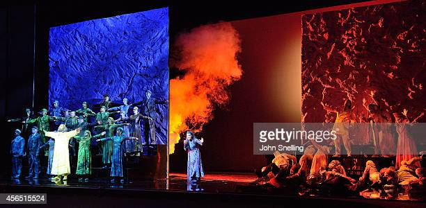 The Chorus perform in The Welsh National Opera's 'Moses In Egypt' at Millenium Centre on October 2 2014 in Cardiff Wales