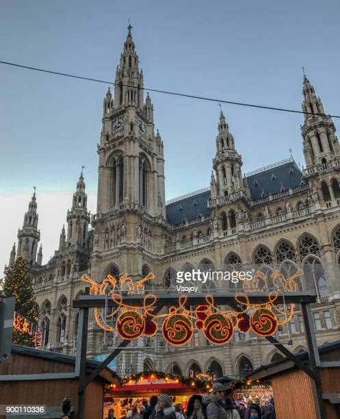 the chrismas market at the square of rathauspark, vienna, austria - vsojoy stock pictures, royalty-free photos & images