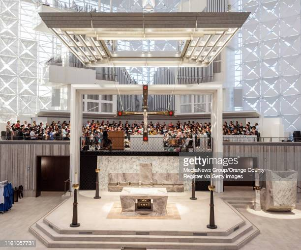 The Christ Cathedral Choir rehearses behind the altar at Christ Cathedral in Garden Grove on Monday, July 8, 2019 in preparation for the official...
