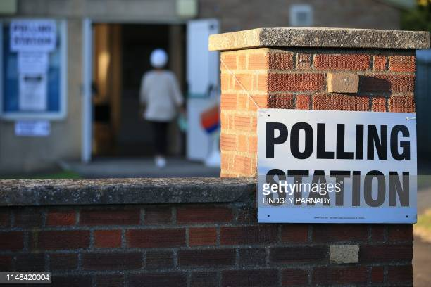 The Christ the Carpenter church Hall polling station is seen in Peterborough, England on June 6, 2019. - A local by-election was triggered when...