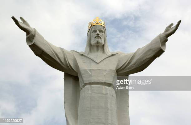 The Christ the King statue stands on June 10 2019 in Swiebodzin Poland The statue which was completed in November 2010 was conceived by retired...