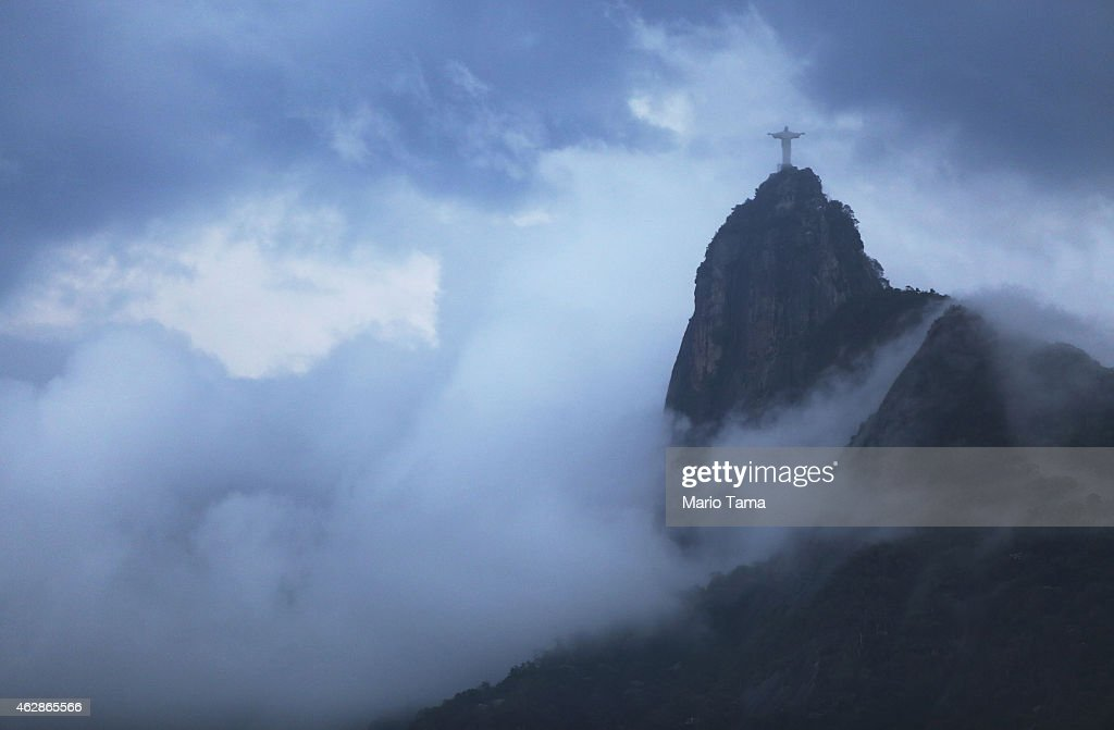 The Christ the Redeemer statue is seen on Corcovado mountain on February 6, 2015 in Rio de Janeiro, Brazil. The city is gearing up to host the Rio 2016 Olympic Games.