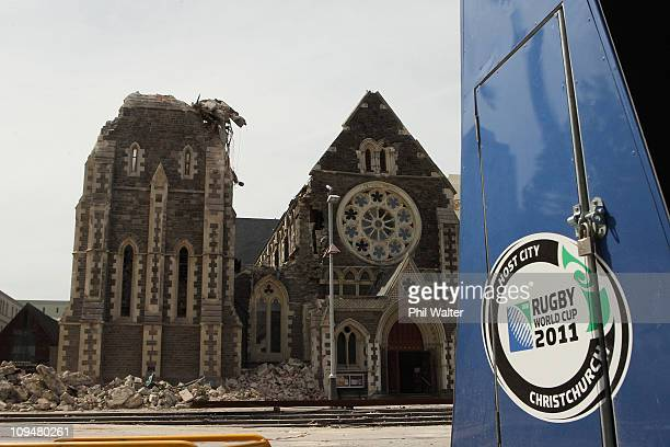 The Christchurch Cathedral is pictured on February 28 2011 in Christchurch New Zealand The death toll from the earthquake has risen to 148 and the...