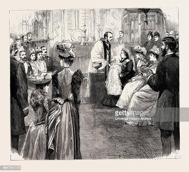 The Christening At Windsor Engraving 1890 UK Uk Britain British Europe United Kingdom Great Britain European