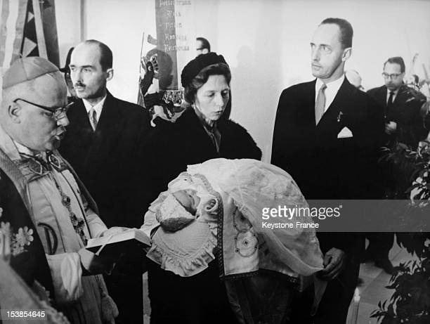 The Christening of Karl the first son of Archduke Otto Von Habsbourg the Christening which was done by Monsignor Bruno Wechner the Bishop of...
