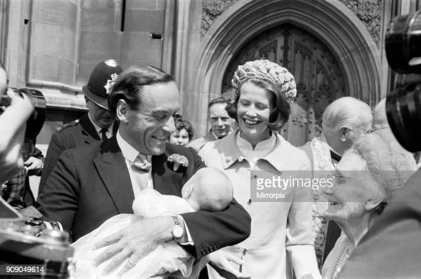 The Christening of Mr and Mrs Jeremy Thorpe's son Rupert Jeremy in the Crypt Chapel of the Palace of Westminster Pictured smiling at the baby are the...