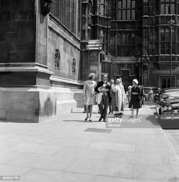 The Christening of Mr and Mrs Jeremy Thorpe's son Rupert Jeremy in the Crypt Chapel of the Palace of Westminster Pictured leaving the Crypt are Mrs...